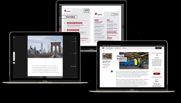 Web design portfolio pieces displayed on different laptops