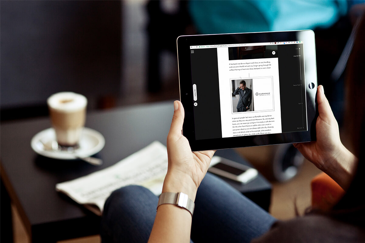 Digital magazine website displayed on an iPad