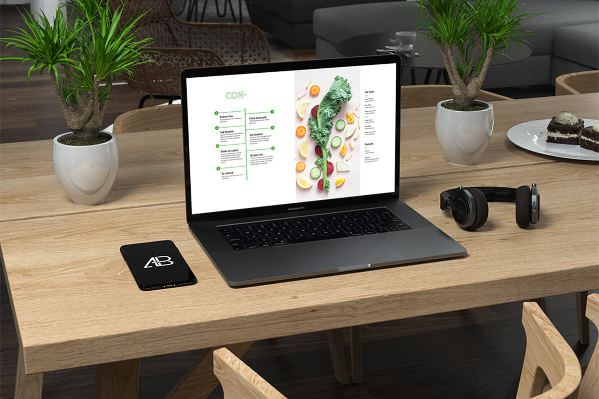 Magazine website found via PPC advertising (displayed on a black laptop sitting on a thick light-toned woodgrain desk with plants)