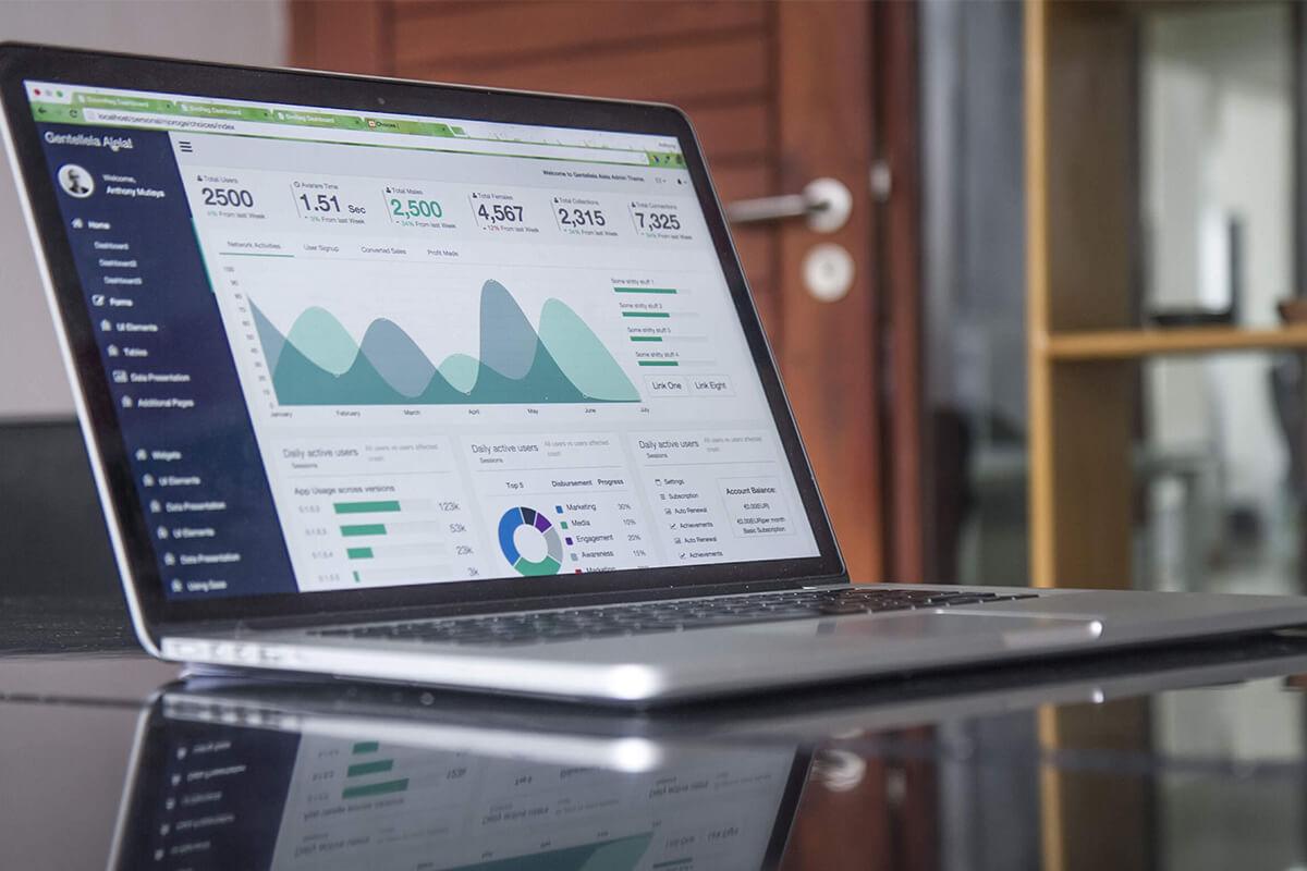 Digital magazine marketing KPIs on a laptop screen