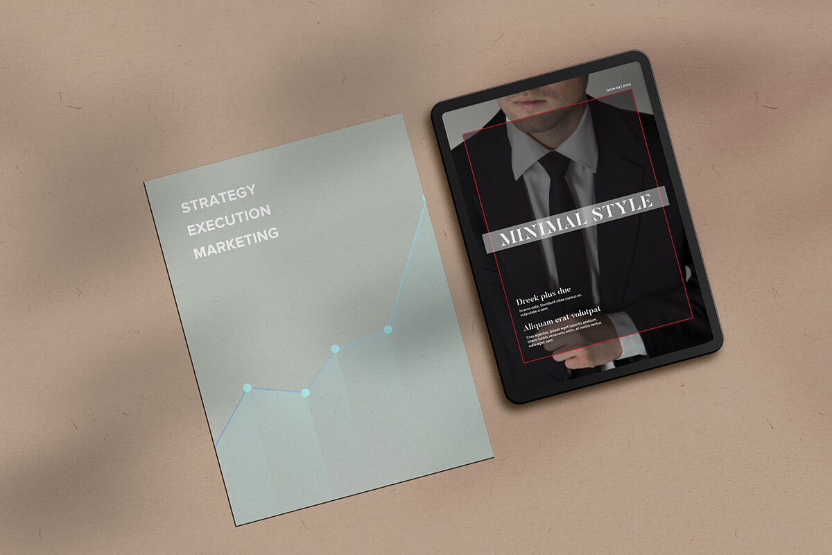 Print annual report style mockup print edition and a men's magazine in website version, side by side
