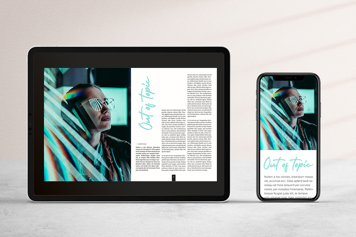 Print magazine converted to digital magazine (and displayed on a tablet and on a smartphone)