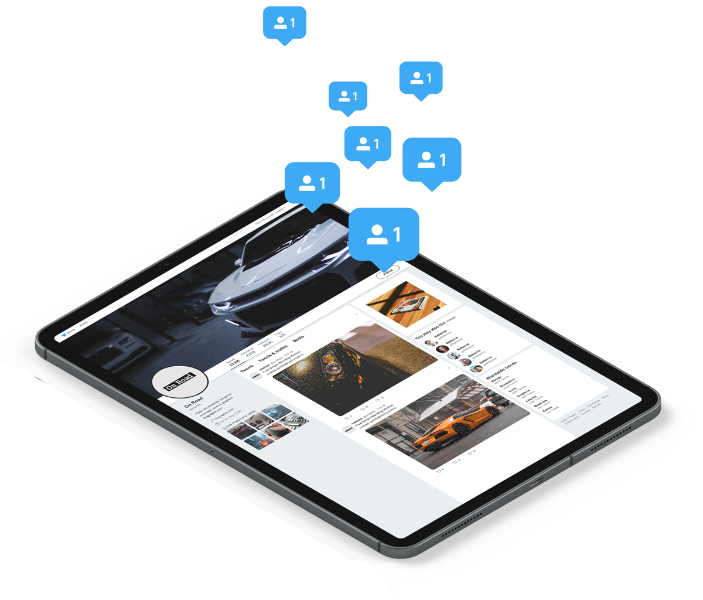 Website displayed on a tablet computer with follower adds playfully hovering over the screen